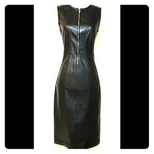 DONNA KARAN:  Beautiful black soft leather dress.